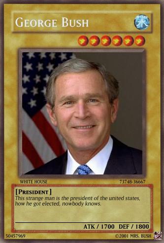 yu gi oh card george bush by dragynnboy on deviantart