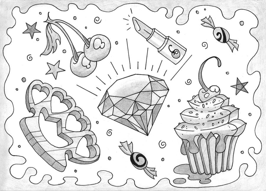 Girly Flash Tattoo Designs by WhippedCreamCake on DeviantArt  |Cool Drawings Flash Girly