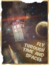 Retro Time and Space Travel Poster
