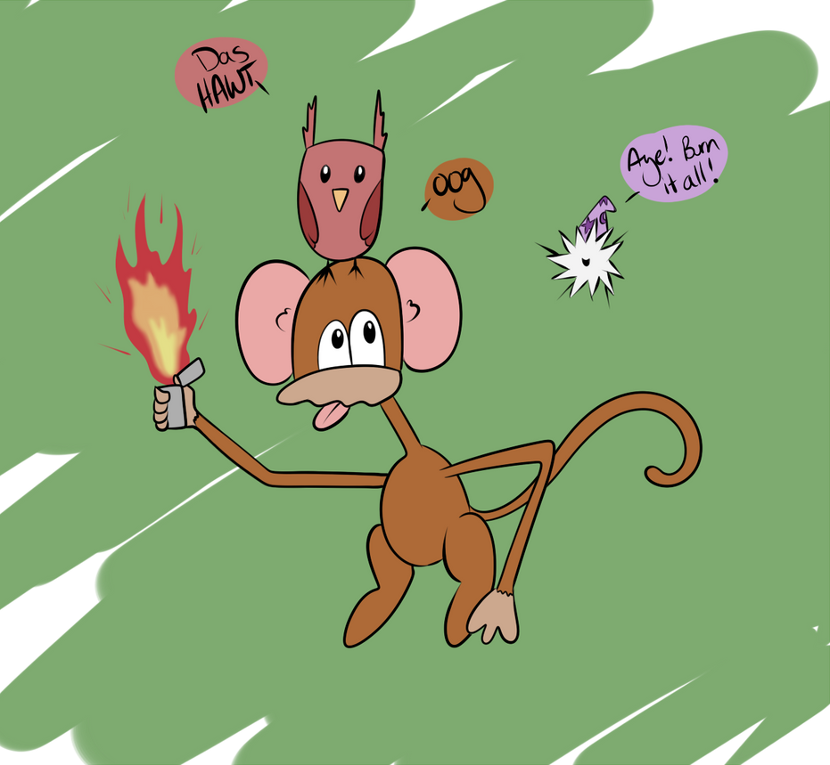 Lunch Monkey Hawt Owl and Zasz by Fairiegirl101