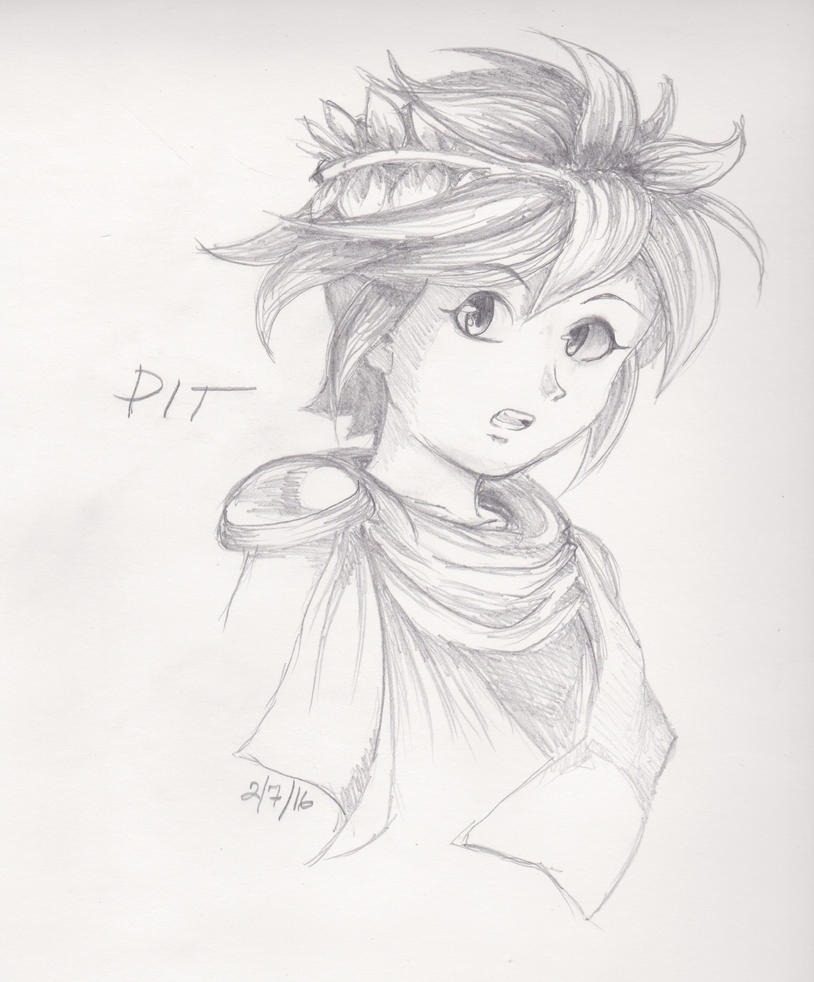 Kid Icarus: Pit bust sketch by Sheshin