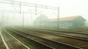 Station in mist