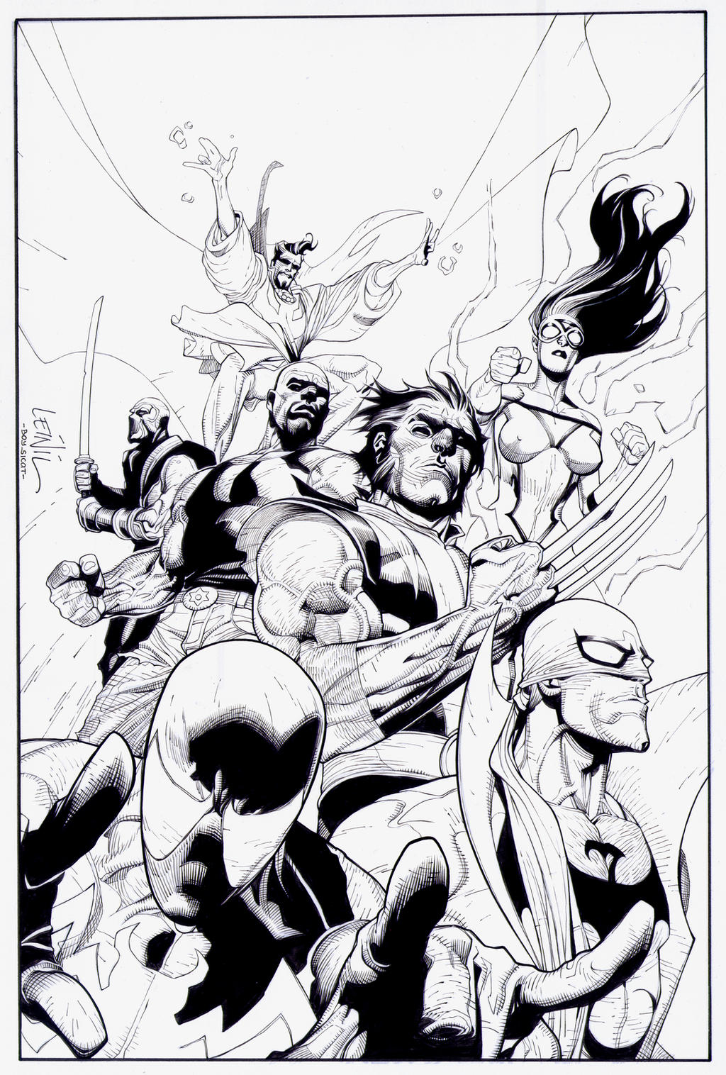 New Avengers Coloring Pages : New avengers cover inks by boysicat on deviantart