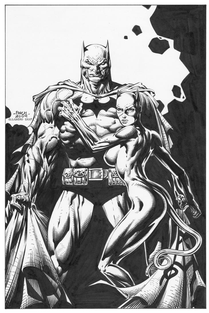 David Finch Batman with Catwoman INKS 300 by boysicat