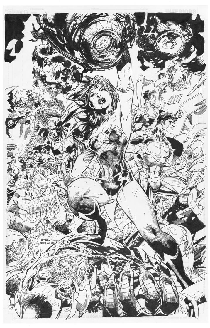 Jim Lee: Wonder Woman with JLA by boysicat