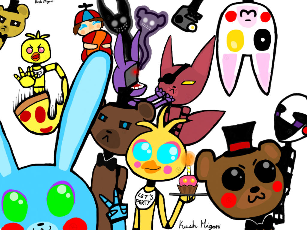 Fnaf all characters by kush migoni on deviantart