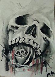 Skull and Rose by XxAllXAlonexX
