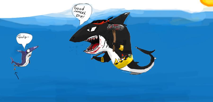 Megalodon vs Blue shark by LightningboltszOwnz1 on DeviantArt