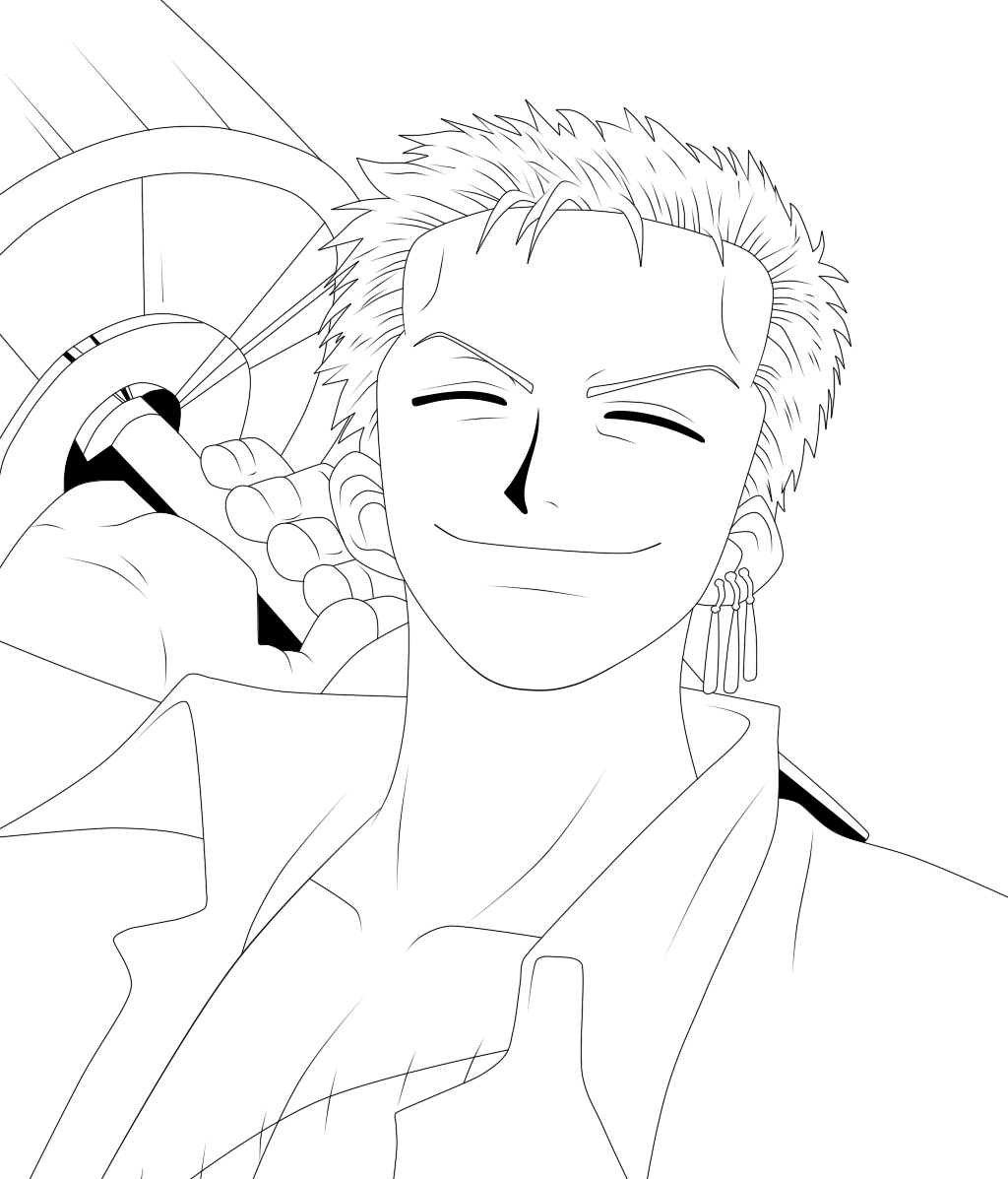 Zoro Lineart : Roronoa zoro lineart by scarletft on deviantart