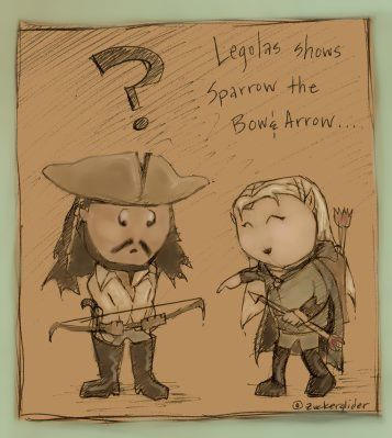 Chibi Sparrow and Legolas by zuckerglider