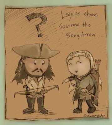 Chibi Sparrow and Legolas by zuckerglider