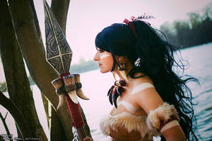 Nidalee cosplay by the water by Artyfakes