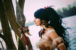 Nidalee cosplay by the water