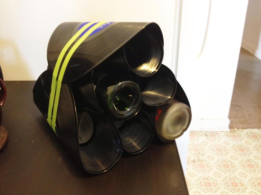 Upcycled Lp Vinyl Record Wine Rack By Blackkat777 On
