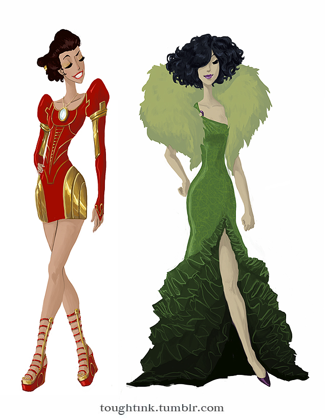 Avengers Gowns: Iron Man and Hulk by kelseymichele