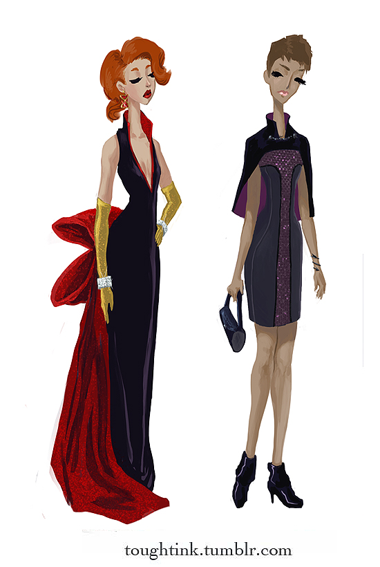 Avengers Gowns: Black Widow and Hawkeye by kelseymichele