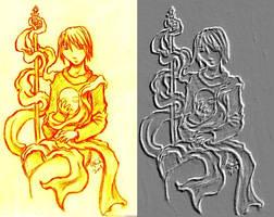 Relief Drawing Ashokan by nekozikasilver1