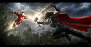 The Avengers- Iron Man vs. Thor Key Frame by andyparkart