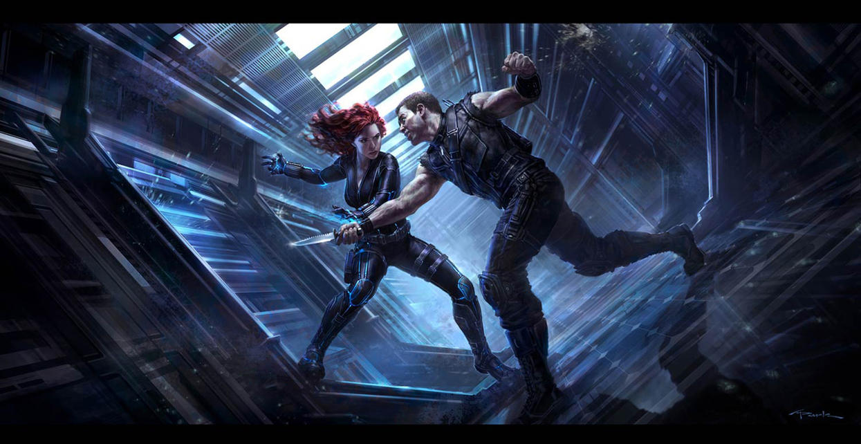 The Avengers- Black Widow vs. Hawkeye Key Frame by andyparkart