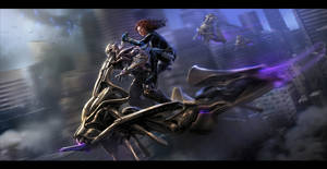 The Avengers- Black Widow vs. Chitauri by andyparkart