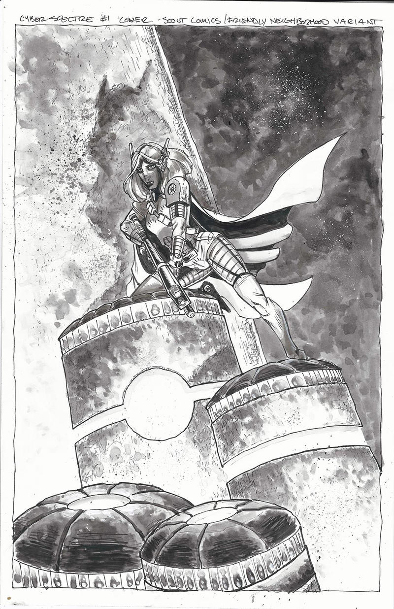 Cyber Spectre #1 Cover Ink Art by IanNichols