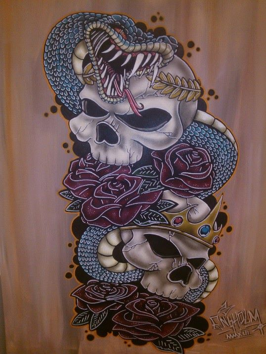 Snake, Skulls and Roses 001 by Stafdk on DeviantArt