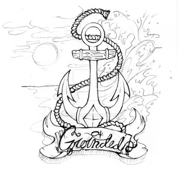 Anchor Tattoo Line Drawing : Anchor tat design by joxter on deviantart