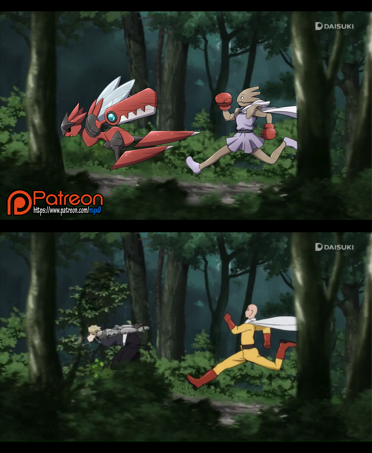 Commission: One Punch Mon Running Scene by Mgx0