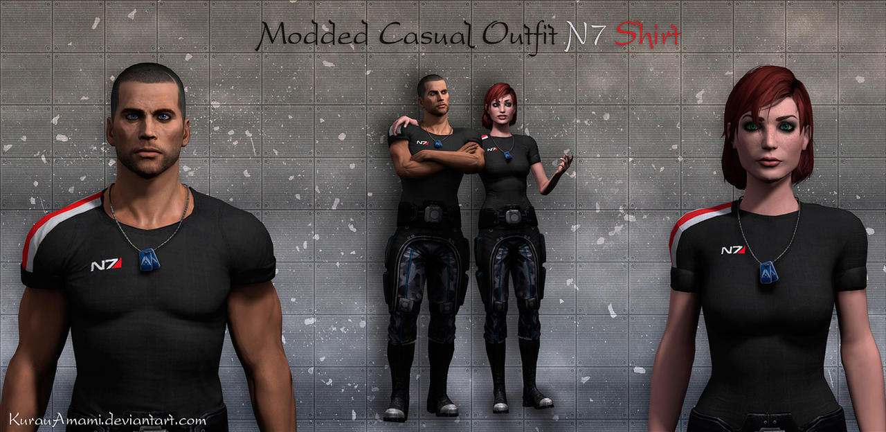 Mass Effect 3 - Modded Casual Outfit N7 Shirt by KurauAmami
