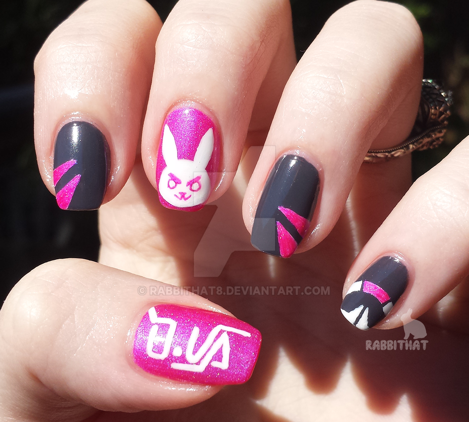Overwatch D.Va nails by rabbithat8 on DeviantArt