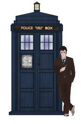 10 and his TARDIS by Fusionfall550