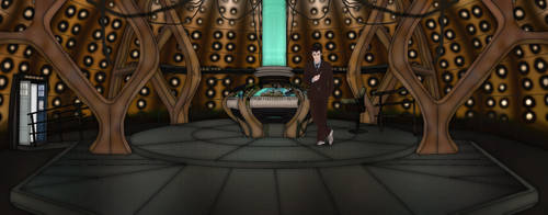 the tenth Doctor inside his TARDIS by Fusionfall550