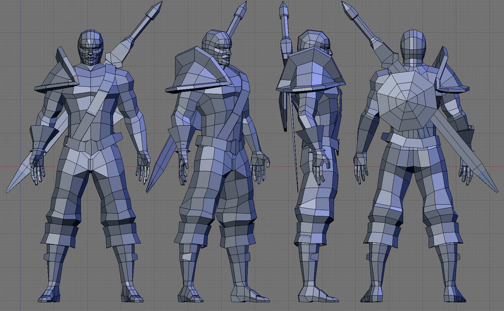 Easy Character Modeling Blender : Low poly warrior wip by sdellapina on deviantart
