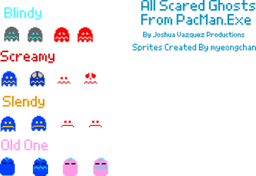 All Scared Ghosts From PacMan.Exe Sprites
