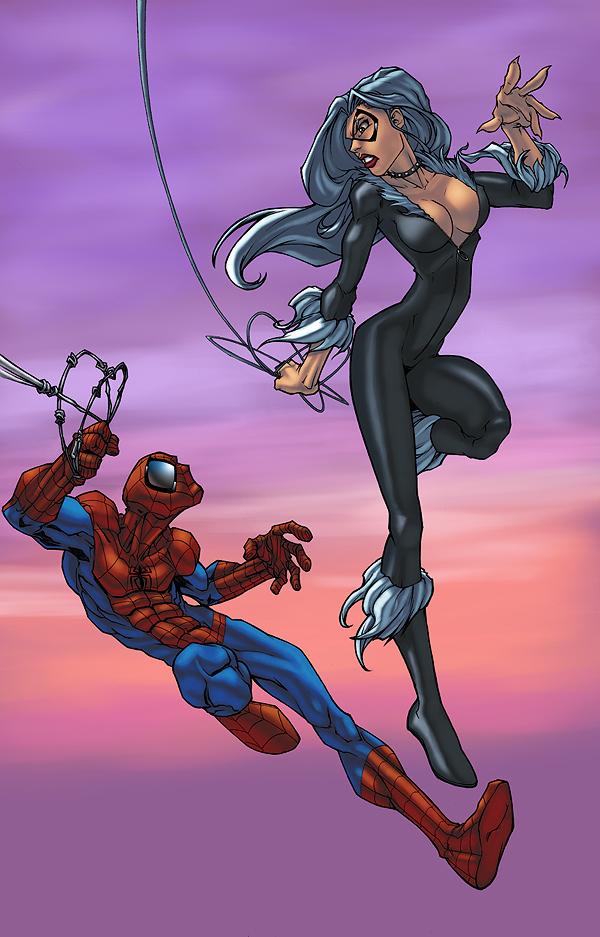 Spider-Man and Black Kittie by pixelisedmind