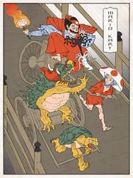 Mario Kart Japanese Ukiyo-e by thejedhenry