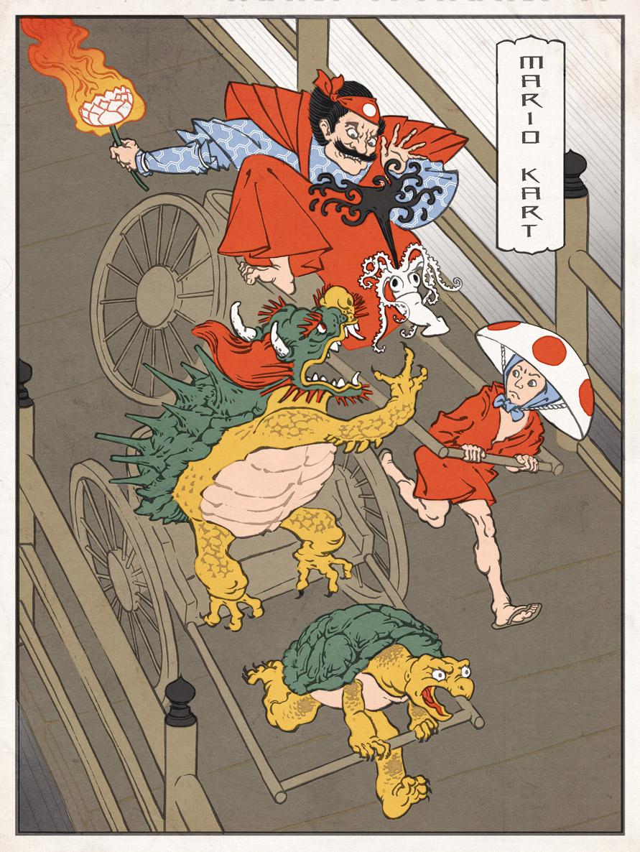 Mario Kart Japanese Ukiyo-e