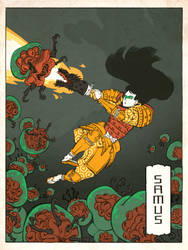 Samus as a Japanese Ukiyo-e by thejedhenry