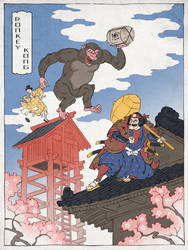 Donkey Kong as a Japanese Ukiyo-e by thejedhenry