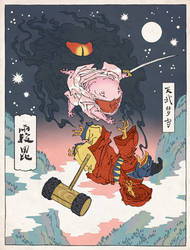 Kirby as an Ukiyo-e by thejedhenry