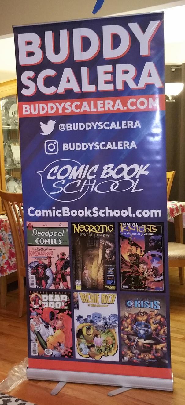 NY Comicon banner for Buddy Scalera by grantshorterart