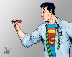 Superman throwing darts
