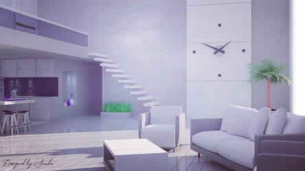 Living room w/ kitchen by FiciallyOwned