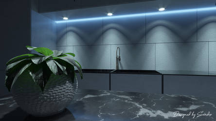 Kitchen w/ green flower and blue lighting by FiciallyOwned
