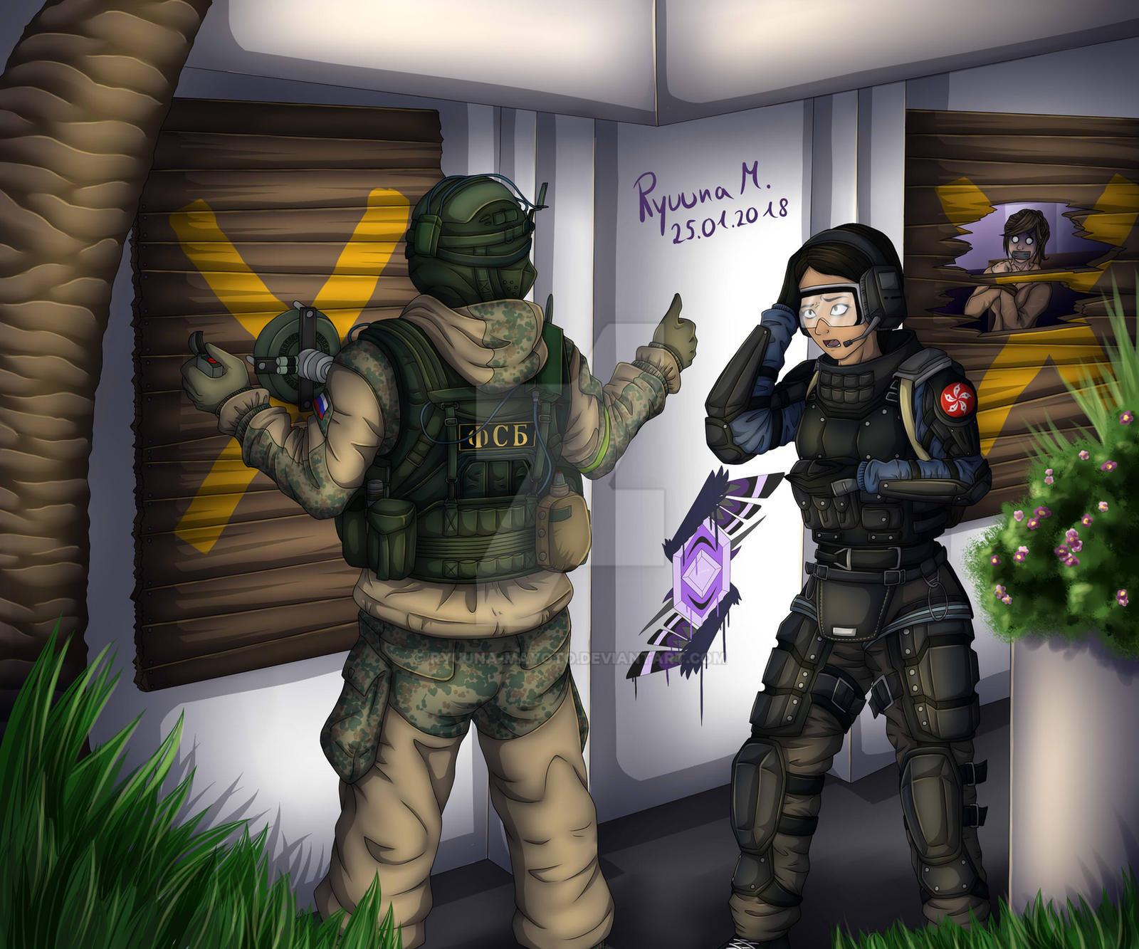 Soldier Video Games Rainbowsix Siege Digital Art Dark: Rainbow Six Siege: Fuze And Ying ~Fanart By Ryuuna-Mayoto