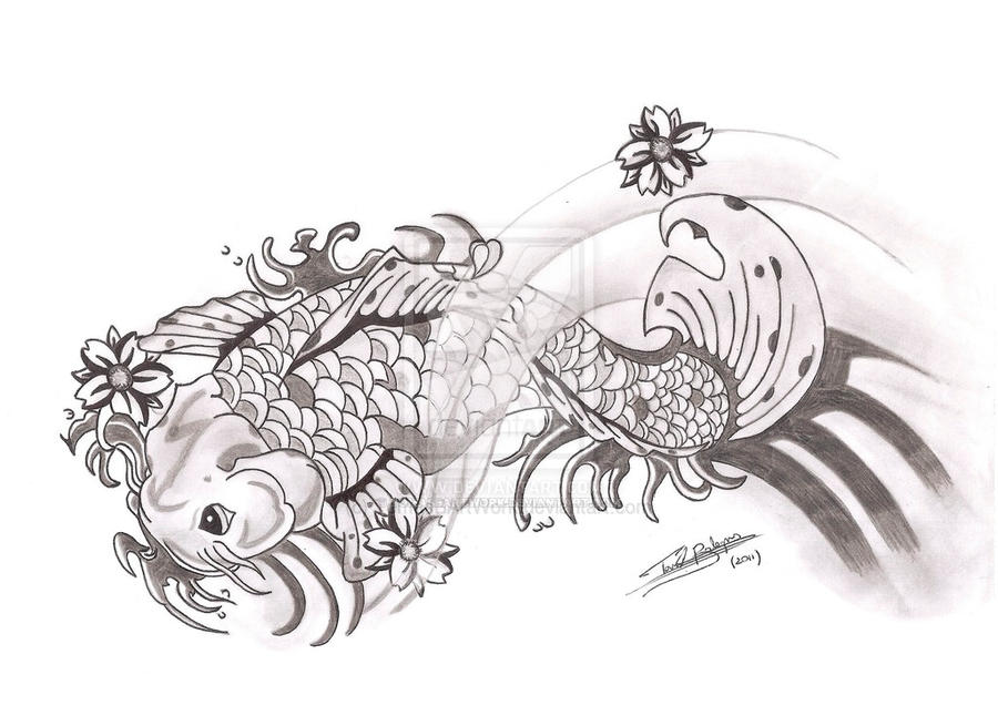 Koi fish design by tomasbartwork on deviantart for Koi carp pool design