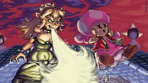 Queen Koopa (Bowsette vs Toadette) by Nighteba