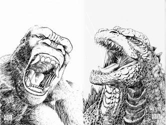 Godzilla King Kong Pencils