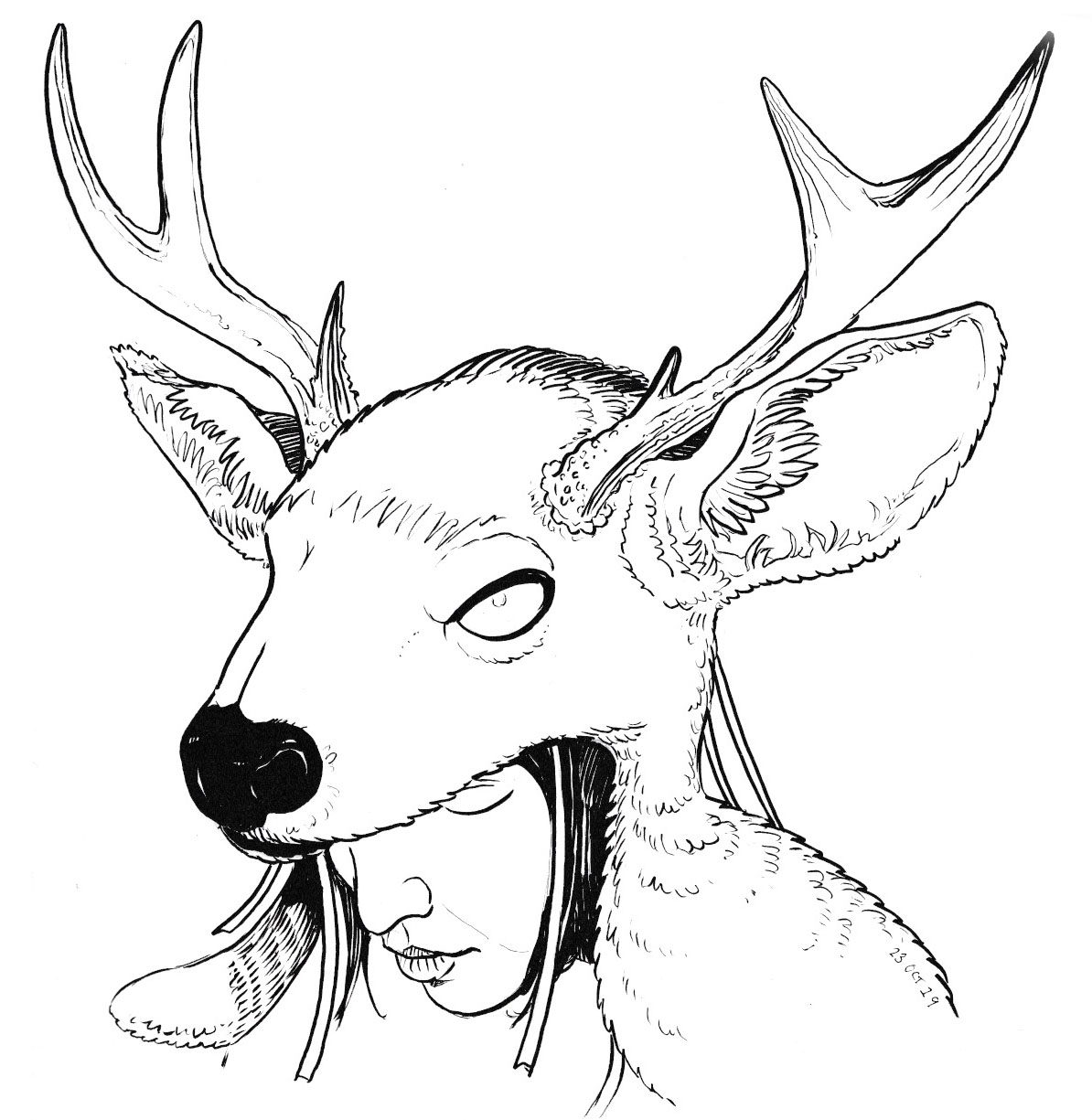 Inktober 2019 - Day 22, Deer Woman