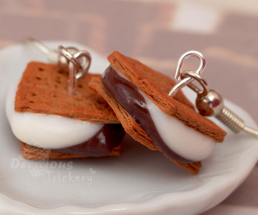Smushed S'mores Earrings by DeliciousTrickery
